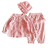 Newborn Infant Baby Girls Clothing Lace Cardigan+Long Pant+Cap Hat Set Outfit (60/3-6M, Pink)