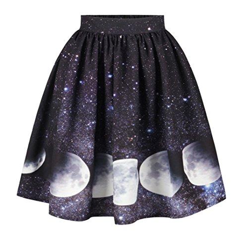 Coswe Women's High Waist Halloween Skirt 3D Digital Printing Casual Midi Skirt (M:Waist 27