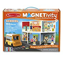 Melissa & Doug Magnetivity Magnetic Tiles Building Play Set – School with School Bus Vehicle (106 Pieces, STEM Toy, Great Gift for Girls and Boys - Best for 4, 5, 6, 7, 8 Year Olds and Up)