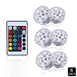 Submersible LED Lights, ELINKUME Remote Controlled Multi Color Changing Waterproof Battery Powered Mood Night Light for Vase Base, Floral, Aquarium, Pond, Wedding, Party (6PCS)