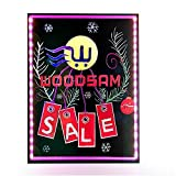 Woodsam Lighted LED Writing Board - 28'' X 20'' Flashing Illuminated Erasable Neon Sign With 8 Colorful Markers - Perfect for Children, School, Home, Office, Business Holiday Celebration Gift