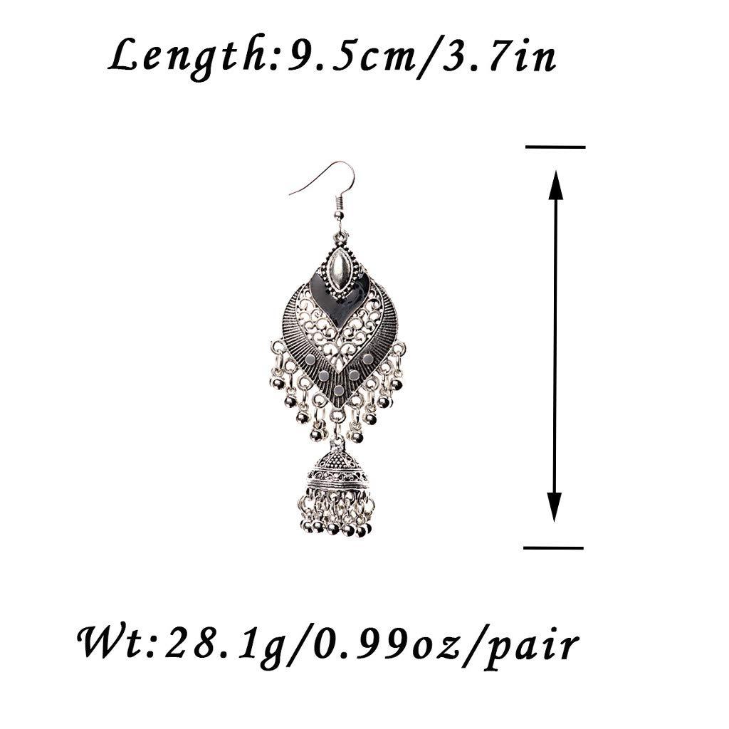 Princegame 1 Pair Creative Alloy Bohemia Indian Styles Earrings Vintage Cage Shape Bells Ear Rings Minimalism Elegant Design Female Danglers Jewelry Gift