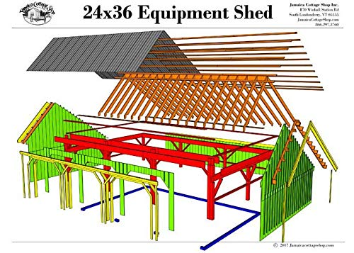 24x36 Timber Frame Post & Beam Equipment Shed Plans/Garage Plans/Barn Plans with Three Bays - Step-By-Step DIY Building Plans