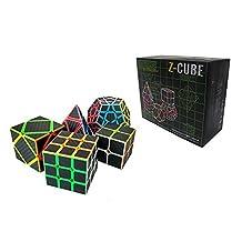 I-xun Carbon Fiber Speed Magic Cube Bundle, 2x2 3x3 Pyraminx Skewb Megaminx Cube - 5 Pack