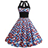 YOcheerful Women Dress American Print Independence Day Evening Party Prom Swing Button Halter Hepburn Dress(Blue, 2XL)