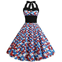 Euone Dress Clearance Women Vintage Dress American Flag Print Hepburn Ball Gown Buttons Bowknot Swing Dresses Summer Halter Evening Party Prom Sundress