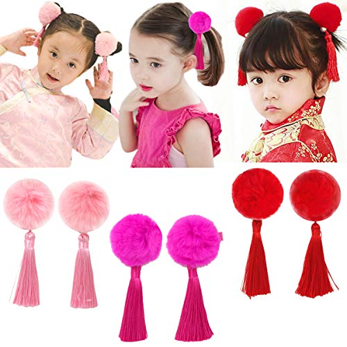 Baby Girls Chinese Style Hairy Furry Balls Bows Tassels Hair Clips Barrettes for Kids Festival (Chinese Dresses Dress Chinese)