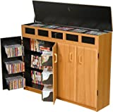 Top Load Media Storage Cabinet Lockable – Oak/Black (Oak/Black)