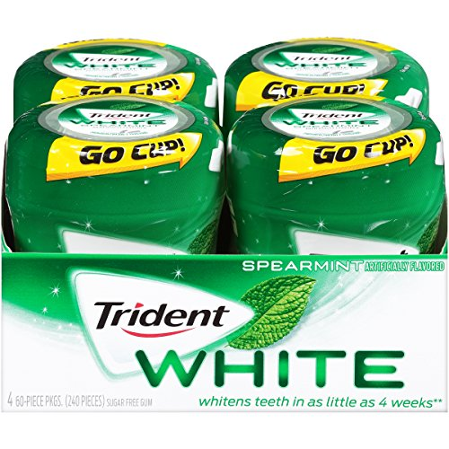 Trident White Sugar Free Gum (Spearmint, 60 Piece, 4 Pack)