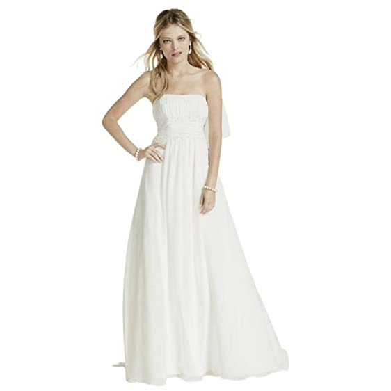 Amazon chiffon beaded empire waist petite wedding dress style chiffon beaded empire waist petite wedding dress style 7v9743 ivory 0p junglespirit Gallery