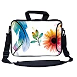 Meffort Inc 13 Inch Neoprene Laptop Bag with Extra Side Pocket, Soft Carrying Handle & Removable Shoulder Strap for 12.5 to 13.3 Inch Size Chromebook Ultrabook (Flower Butterfly)