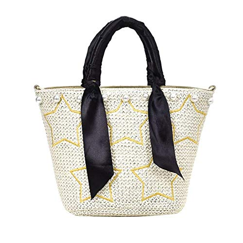 Style Paglia Borse mano Stelle Casual a Tracolle Beach Summer B Travel Perle Donna Bag Vhvcx ATqtXwx