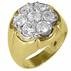 14k Yellow Gold Men's Brilliant Round 2.50 Carats Diamond Cluster Ring