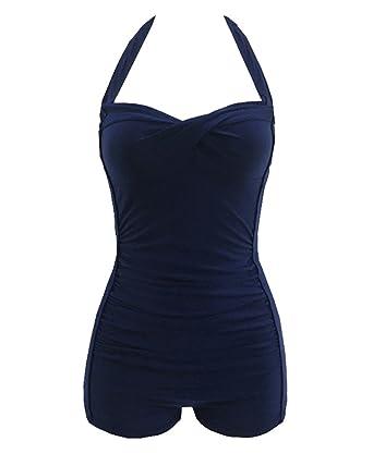 9a7c0550aa8a3 Femme Maillot de Bain élégant amincissant monokini push up 1 Pièce shorty  chic Bleu 1 L