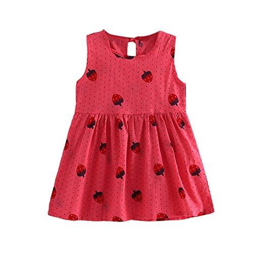 Rakkiss Girls Dress Print Sleeveless Skirt Princess Party Skirt Wedding Pageant Dress Clothes Vest Hot Pink -