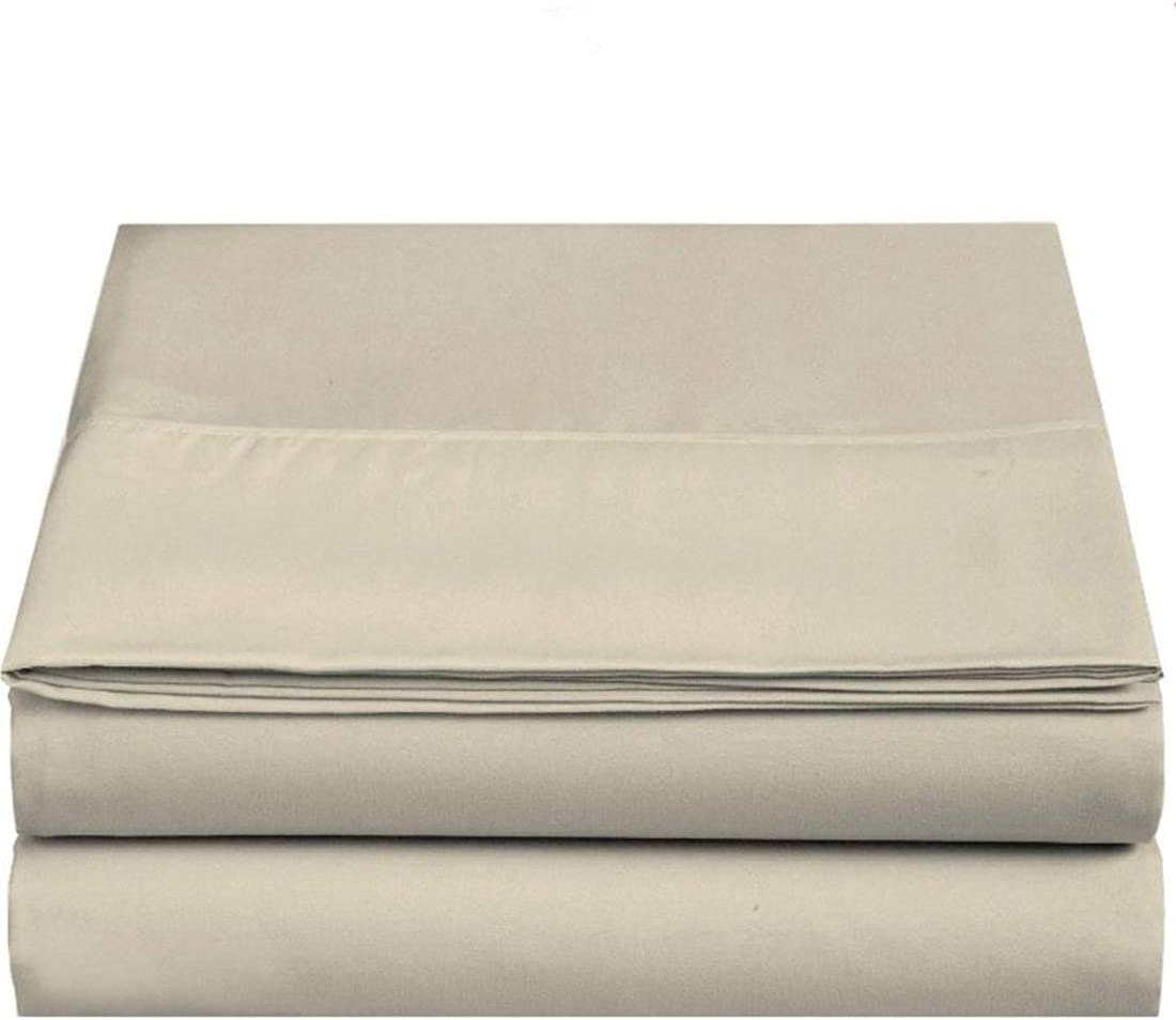 4U LIFE 2 Piece Flat Sheet, Ultra Soft and Comfortable Microfiber, King, Dark Beige