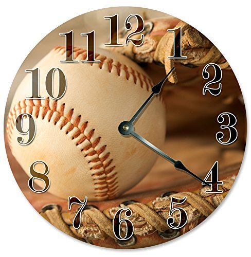 - Rustic Round Wall Clock for Living Room Decor Baseball Glove Nursery Wood Wall Clock for Bedroom Decor 15 Inch Kids Clock