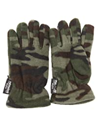 Childrens Little Boys Camouflage Thermal Winter Gloves (3M 40g) (7-10 Years) (Green Camouflage)