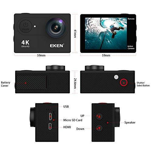 EKEN H9R Camera 4K Camera 25fps 2.7K 30fps 1080P 60fps Camera 12MP Photo 170 Wide Angle includes 11 Kit 2