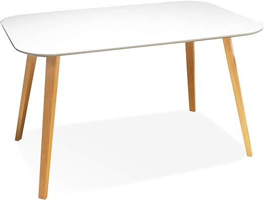 Meubletmoi - Mesa Rectangular escandinava, Bandeja Blanca, 130 cm ...