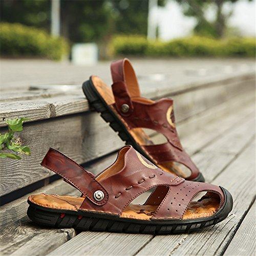 suola perforazione Velluto Orange Pantofole da Color EU in Backless Sandali Sandali BINODA Switch antiscivolo pelle spiaggia da Marrone 42 Dimensione uomo traspirante vera vnqSOWxPw7