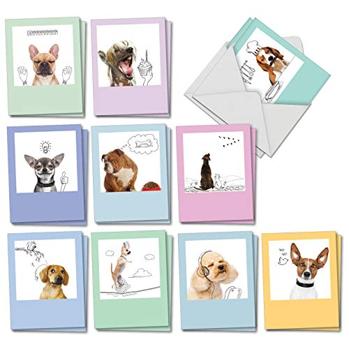 Dogs & Doodles - Box of 20 Funny Dog Blank Cards with Envelopes (4 x 5.12 Inch) - All Occasion Notecard Set for Kids, Dog Lovers - Pet Animals and Sketches (10 Designs, 2 Each) AM6582OCB-B2x10