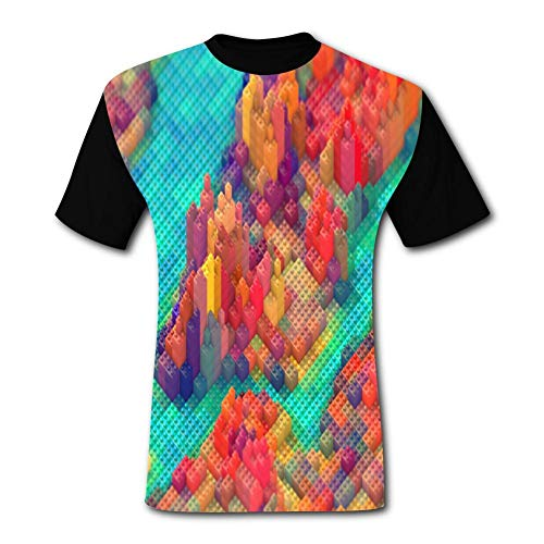 Warm season Color Block Puzzle Black Short-Sleeved Fashion T-Shirt XXL