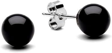 6mm 8mm 10mm GENUINE BLACK ONYX BEAD BALL 925 STERLING SILVER STUD EARRINGS