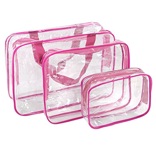 3Pcs Crystal Clear PVC Travel Bag Kit for Men Women, Waterproof Vinyl Packing Organizer Storage Bag with Zipper Closure and Handle Straps, Cosmetic Pouch, Diaper Bag, Handbag Pencil Bag Black (Pink) - Crystal Clear Cosmetics