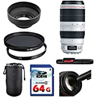 Canon EF 100-400mm f/4.5-5.6L IS II USM Lens Bundle + UV Filter + Polarizer Filter + 2 In 1 Lens Cleaning Pen + High Speed 64GB Memory Card + Rubber Hood + Deluxe Lens Case
