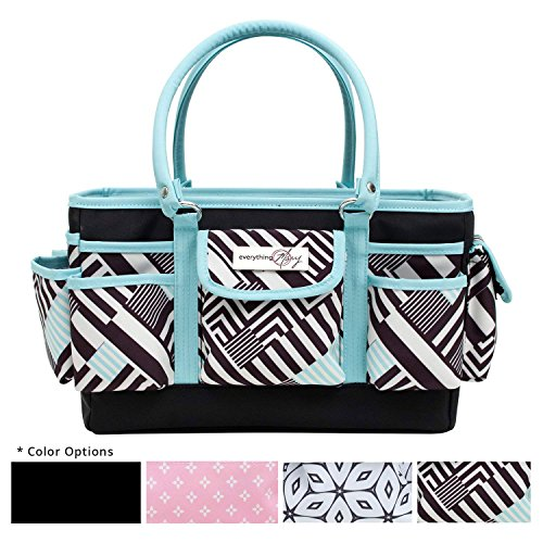 Everything Mary Teal Geometric Deluxe Store and Tote - Storage Craft Bag Organizer for Crafts, Sewing, Paper, Art, Desk, Canvas, Supplies Storage Organization with Handles for Travel by Everything Mary