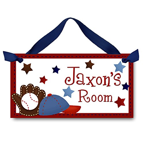 Childrens Name Plaques (Personalized Kids Door Sign for Boys Baseball Sports Name Plaque Kids Bedroom Door Sign DS0086)