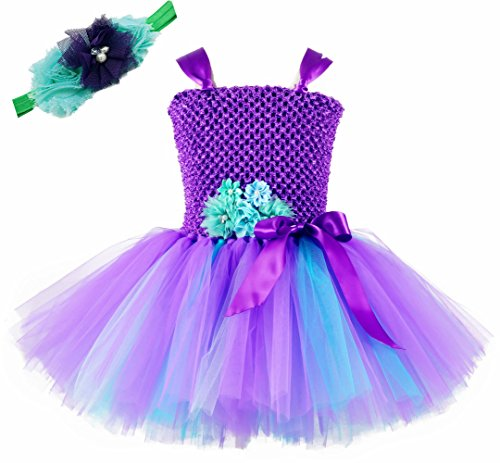 Tutu Dreams Baby Girl Mermaid Dress Up Costume Birthday Party Photo Props (S, Purple-Teal) -
