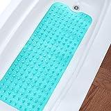 #5: Wimaha Non-Slip Bathtub Mats Extra Long Tub Mat Machine Washable Shower Mat for Bathroom Mildew Resistant Anti-Bacterial, 39L x 16W Teal Bath Mat