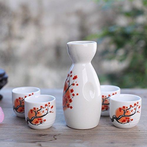 Tosnail 5 pcs Ceramic Japanese Sake Set - Orange Blossom by Tosnail (Image #5)