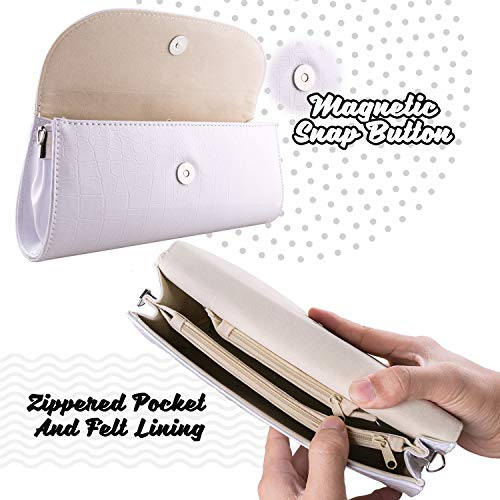 Bundle Monster Womens Envelope Evening Patent Croc Skin Embossed Clutch - WHITE by Bundle Monster (Image #4)