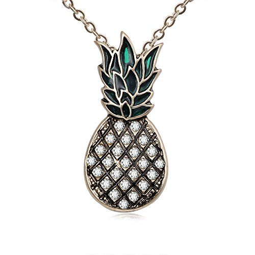 TUSHUO Plated Antique Style Enamel Pineapple Pendant Necklace Crystal Fruits Pendant Jewelry (Antique Gold) ()