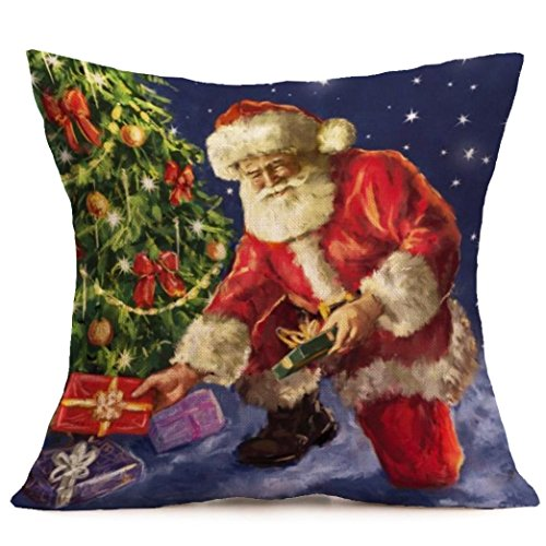 [Gotd Xmas 18 x 18 Cushion Cover Festival Christmas Santa Claus Decorative Christmas Throw Pillow Cover Pillowcase Cushion for Sofa Christmas Gifts] (Unique Santa Costumes)