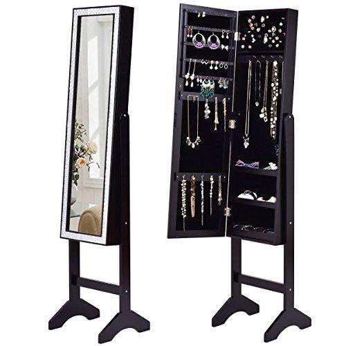 Giantex Mirrored Jewelry Cabinet Armoire Mirror w/Resin Diamond Design Standing Storage Organizer Box, - Diamond Glass Rings Black