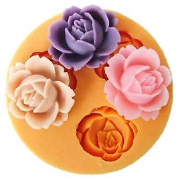 Simple vida silicona Fondant Candy moldes 1,8 cm diseño de pequeñas flores silicona Fondant Azúcar pudin Mini molde Craft Mold DIY Pastel Decoración de ...