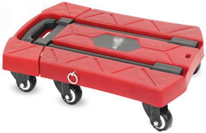 LPZ Carretilla de Mano Plegable Carretilla Plegable de 6 Ruedas Rueda giratoria 360 ° Carretilla de Mano Plegable máxima Carrito de Lata Puede Comprar (Color : Rojo)