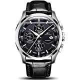 Swiss Brands Men's Automatic Self-Wind Watch Stainless Steel and with Brown Genuine Leather Band (Silver Black)