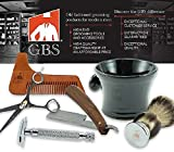 GBS Wood Brush and Razor Stand with Mahogany Finish