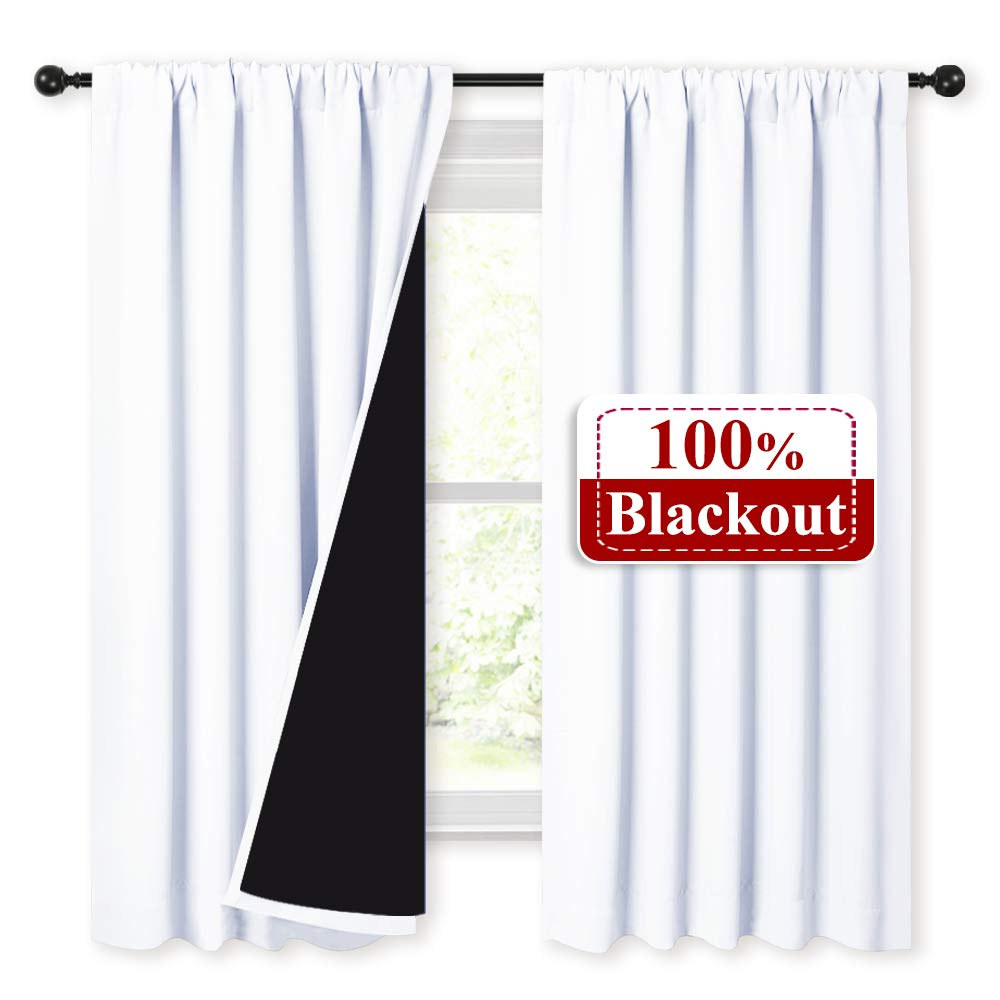 NICETOWN White 100% Blackout Lined Curtains, 2 Thick Layers Completely Blackout Rod Pocket Thermal Insulated Drapes for Kitchen/Bedroom (1 Pair, 52 inches Width x 63 inches Length Each Panel) by NICETOWN