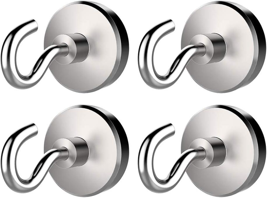 12mm VANKOA Satz Von 4 Magnethaken Haltbarer Metallhalter F/ür Kleidung Schl/üsselbund Hut