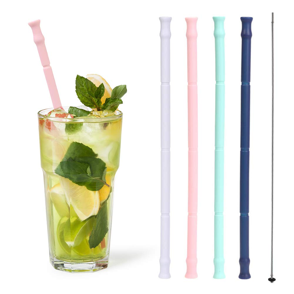 Reusable Silicone Straws, Enow Drinking Collapsible Portable Straws, Extra Long 10'' with 4 Cleaning Brushes and 4 Carrying Cases for Travel, Home, Office, FDA Approved (4 PACK) by Enow