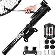 AMZOON Bike Pump with Extra Long Hose Mini Bicycle Pump High Pressure PSI Fit Presta & Schrader Valves Bik