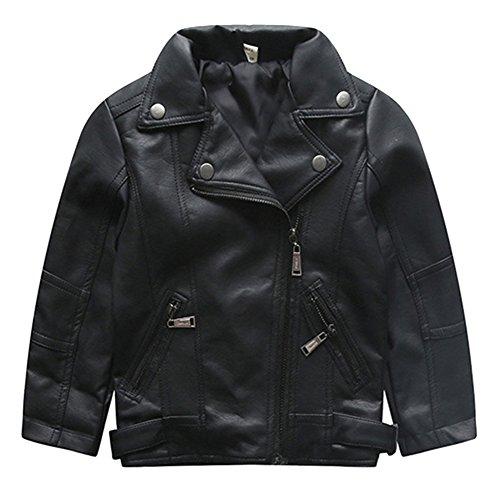 [Lederjacke für Kinder Baby] iBaste Fashion PU Kinderjacken Lederjacke für Baby Jungen Mädchen Kleinkind Slim Fit Revers 90