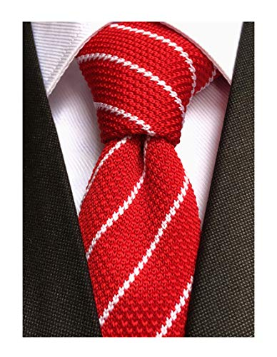 Mens Casual Red White Woven Stripe Neck Ties Knit Formal Party Wedding Prom New Neckties Textured Distressed ()