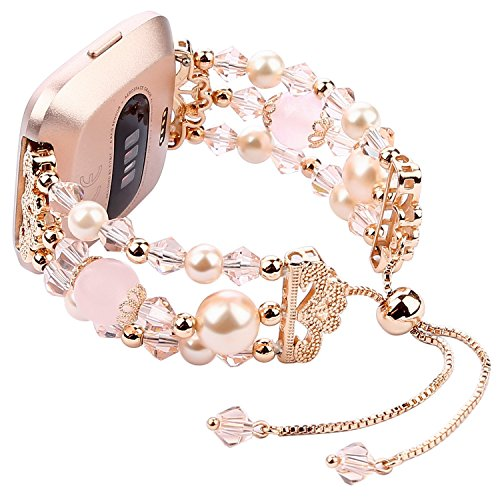 IMYMAX for Fitbit Versa Band Adjustable Crystal Pearl Bracelet Replacement Women Girls Wristband for Fitbit Versa Smart Watch Updated Style (Rose Pink)